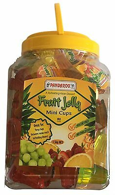 80 Fruit Jelly Mini Cups 99% Fat Free 1.5kg Lolly Candy Buffet Party Favors