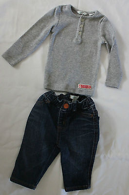 COUNTRY ROAD ~ Unisex Baby Dark Blue Jeans & Light Grey Henley Top Set 3-6m 00