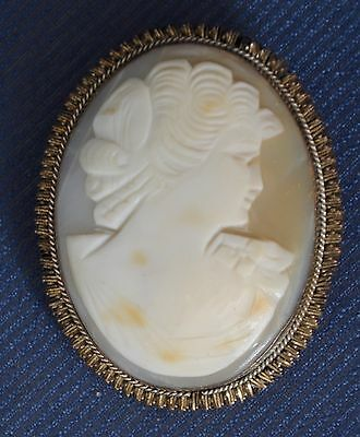 Antique Cameo Victorian sterling lady elaborate arranged hair pendant brooch