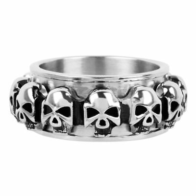 Inox Stainless Steel Skull Spinner Ring