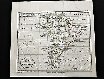 1805 South America Map Amazon Patagonia Paraguay Chili Brazil RARE ORIGINAL