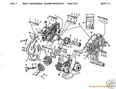 VESPA CD Exploded-view drawings/Spare parts list/Circuit diagram V50 PK PX GL