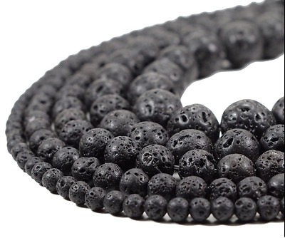 "15"" Natural Lava Beads Black Stone Volcanic Rock Gemstone Wholesale 4/6/8/10mm"