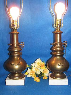 Pair Vtg Antique Heavy Solid Brass W Marble Elec Kerosene Oil Lamp Style Lamps