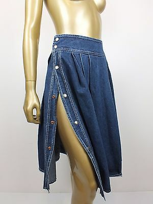 ONEOFF! Vintage CORFU SNAP BUTTON STRAIGHT FULL DENIM JEANS Skirt 12 S