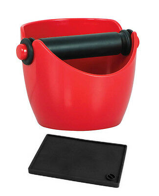 NEW Avanti Red Coffee Knock Box Espresso Grinds Tamper Waste Bin & Tamper Mat