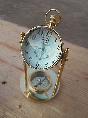 Brass Antique Vintage Ball Style Lens Table Clock Top Watch With Inbuilt Compass