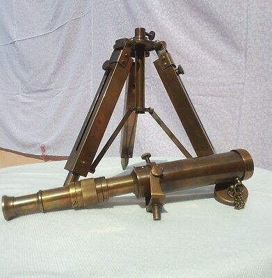Antique Brass Vintage Nautical Telescope Collection With Wooden Tripod Great