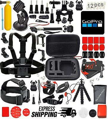 44 Pc Accessories Kit for GoPro HERO 5 Session 4 3+ 3 2 1 Cameras - Black Silver