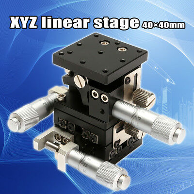 XYZ Linear Stage Slip 40mmX40mm Cross-roller Bearing Miniature Compact Left Hand