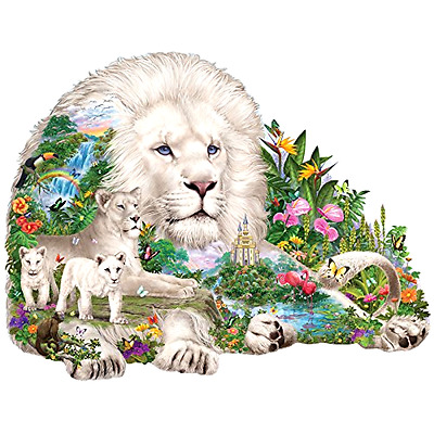 Jigsaw Puzzle 750 Piece Shaped Puzzle - Dream of the White Lions, Big Cat Puzzle