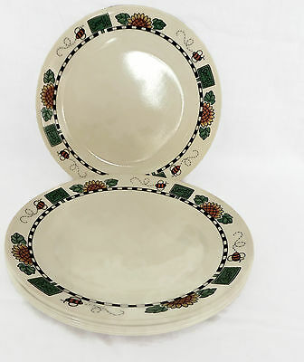 """Set of 7 Corelle Sunblossoms Dinner Plates by Corning 10 1/4"""" Sunflowers"""