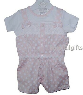 Baby Girls Spanish Style Cotton 2 Piece Pink/White Dotty Bow Romper 0-24 Mths