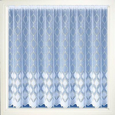 Pure White  Luxury Marseilles Modern Lace Net Curtain By The Metre Free Postage