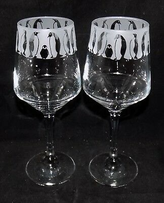 """New Etched """"PENGUIN"""" Wine Glass(es) - Free Gift Box - Large 390mls Wine Glass"""