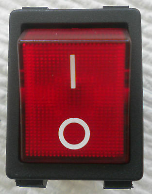 Red Lighted Rocker Switch 4 Pin 120V/240V Commercial Applications Dpst Free Ship