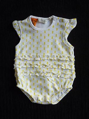 Baby clothes GIRL 0-3m bodysuit, romper white/yellow frill back&front SEE SHOP!