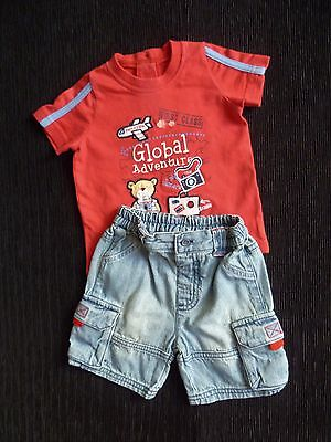 Baby clothes BOY 3-6m outfit t-shirt/denim shorts SEE SHOP! COMBINE POSTAGE!