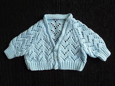 Baby clothes BOY 0-3m blue patterned soft cardigan hand-knitted SEE SHOP!