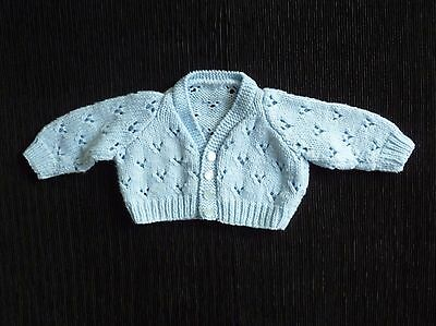 Baby clothes BOY newborn 0-1m blue pattern soft cardigan hand-knitted SEE SHOP!