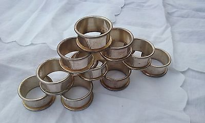 Silver napkin rings, 1 x 2 inch, heavyweight, set of 12 vintage silver, no marks