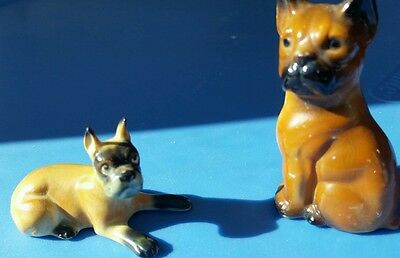 Two Miniature Painted Bone China Figurines Dog BOXER, marked Japan