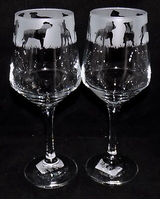 "New Etched ""STAFFORDSHIRE BULL TERRIER"" Large Wine Glass(es) - Free Gift Box"