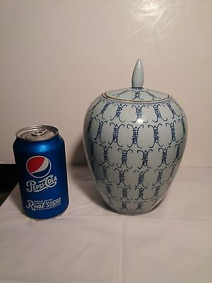 Chinese Old Blue and White Jar W/Lid & Finial with Buddhist Characters Symbols