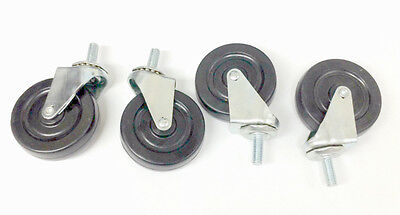 "4 New Light Duty Swivel Casters with 3"" Rubber Wheels 3/8"" Threaded stem"