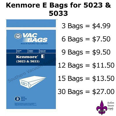 Sears Kenmore Canister Type E Vacuum Bags For 5023 5033 20-5033 Models
