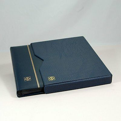 Lighthouse 32 Page Leather Stamp Stockbook with Matching Slipcase, LZS4/16K Blue