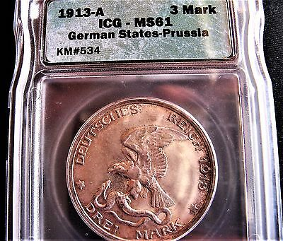 1913A German States Prussia Eagle Unc. Icg Ms 61 Drei 3 Mark Germany Silver Coin