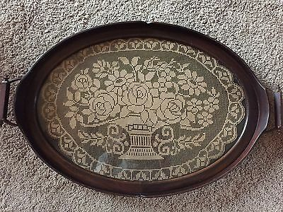 Antique Oval wood serving tray with lace insert
