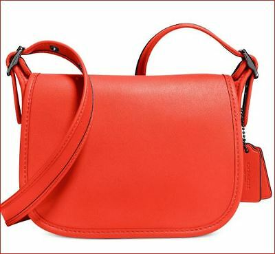 NWT Coach 57731 Glovetanned Leather Small Saddle Crossbody DK Deep Coral   225 efbba5544d