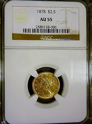 1878 $2.50 Liberty Head Gold Quarter Eagle NGC AU55