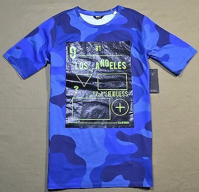 1f22fc77b38b Nwt Boys Kids Guess All Over Blue Black Camo Ss Crew Neck T Shirt Size 8