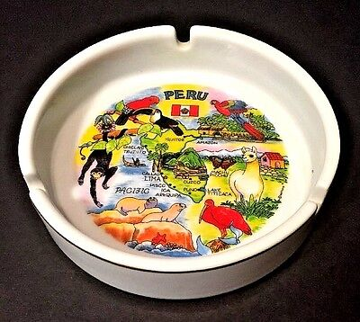 Souvenir PERU Ceramic Ashtray Full Color Graphics Maps White Porcelain Gold Rim