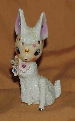 lovely vintage sugar salt glaze Rhinestone Deer figurine  Japan Arnart knock-off