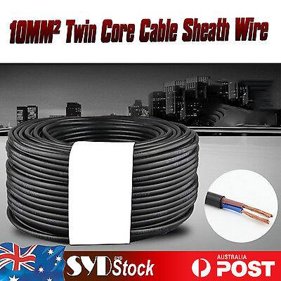 Home Power System Twin Core Cable 12V 10MM2 x 35M Dual Battery Sheath Wire OZ