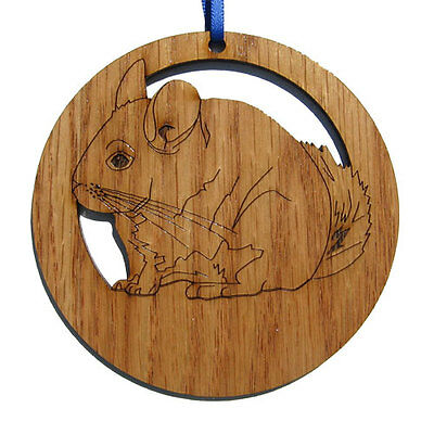 "LASER CUT 4"" ROUND WOOD CHINCHILLA ORNAMENT or WALL PLAQUE"