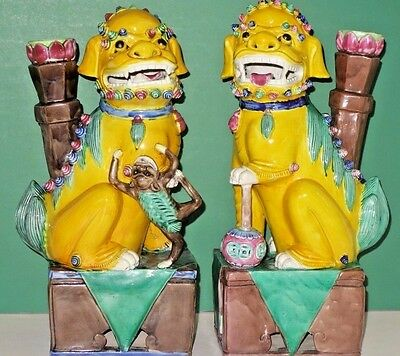 Antique Chinese Porcelain Enamel Pair of Temple Foo Dogs/Lions,circa 1900,marked
