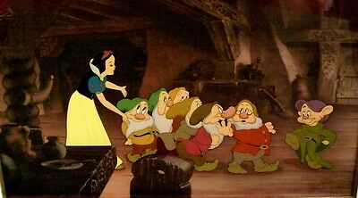 Disney Snow White and Seven Dwarfs Cel OFF TO BED Rare Signed Publishers Proof