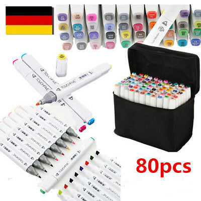 Marker 80 color Touch Five Alcohol Graphic Art Twin Tip Pen Marker Broad Fine DE