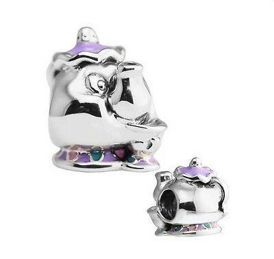 S925 Silver EURO Charm Mrs Potts & Chip Beauty & The Beast - FREE Pandora Cloth