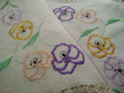 Gorgeous Happy Pansies ~ Vintage Hand Embroidered Centrepiece/mat