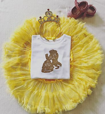 Personalised Princess Beauty & Beast Birthday Girls Top Vest T-shirt Outfit