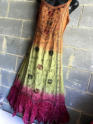 Lot Of 2 Winter Weightrayon Embroidered Maxi Dresses.funky Hippy Boho Design.new