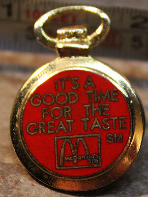 McDonalds Good Time For Great Taste Pocket Watch Shaped Collectible Pinback Pin