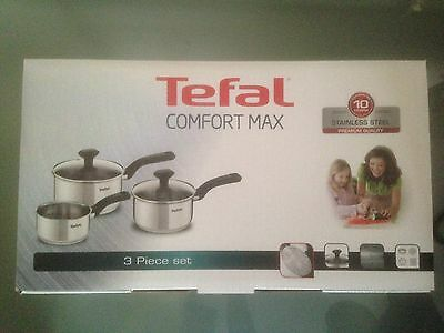 Tefal C973S344 Comfort Max Stainless Steel Pan Set  3 Piece Induction Compatible