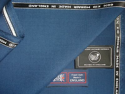 """60%SUMMER KID MOHAIR & 40%WOOL """"Queen Blue"""" SUITING FABRIC MADE IN ENGLAND- 3.4m"""